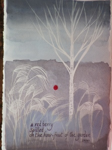 a red berry spilled on the hoar-frost of the garden..                         SHIKI