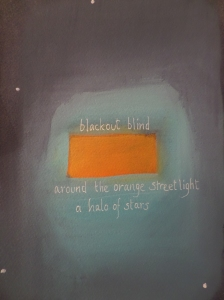 blackout blind around the orange streetlight a halo of stars